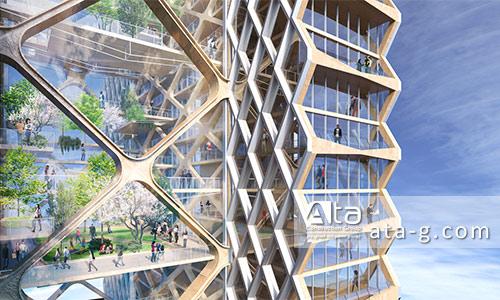 نمای چوبی برج ریور بیچ